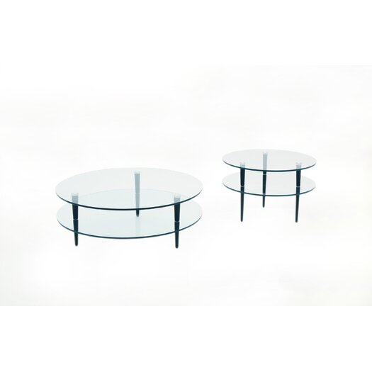 Focus One Home Saturn Coffee Table with Wooden Legs
