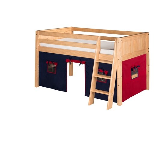 Camaflexi Low Loft Playhouse Bed with Panel Headboard