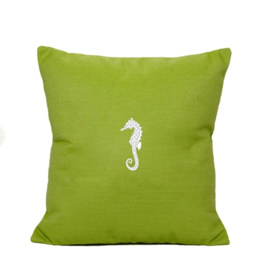 Nantucket Bound Sunbrella Pillow With Embroidered Seahorse