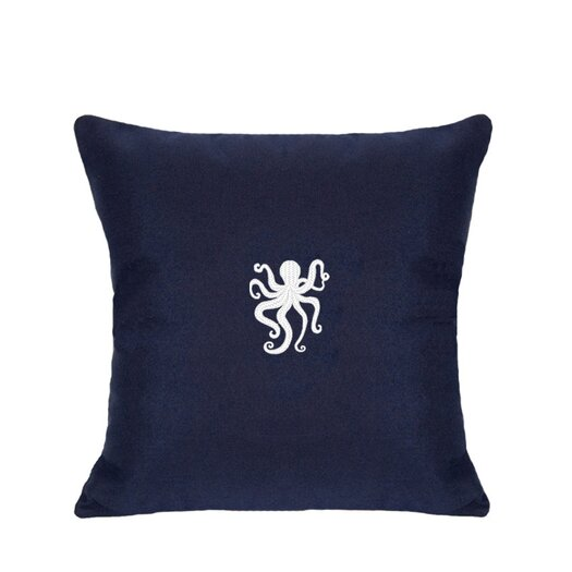 Nantucket Bound Sunbrella Pillow With Embroidered Octopus