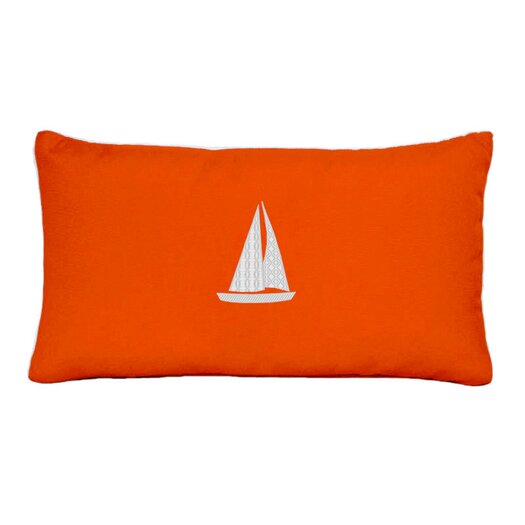 Nantucket Bound Sunbrella Beach Pillow with Embroidered Sailboat and Terry Cloth backs