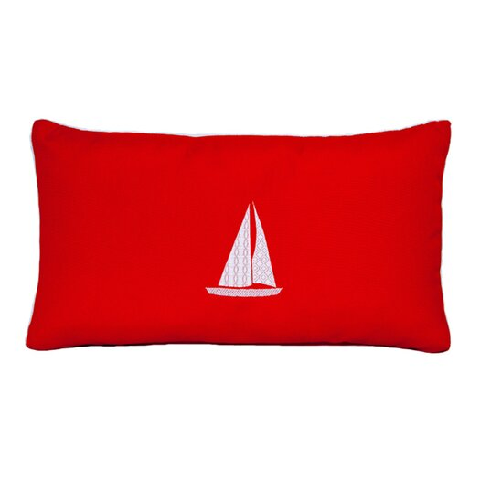 Nantucket Bound Sailboat Embroidered Sunbrella Fabric Beach Pillow