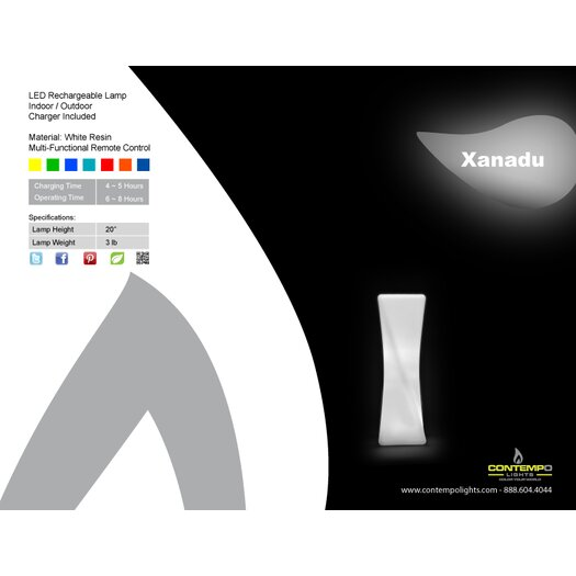 "Contempo Lights Inc LuminArt Xanadu LED Rechargeable Designer 21"" H Table Lamp with Rectangular Shade"