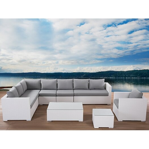 Beliani XXL Outdoor 8 Piece Lounge Seating Group with Cushion