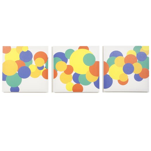Modern Littles 3 Piece Rusty Boyish Bubbles Canvas Art Set