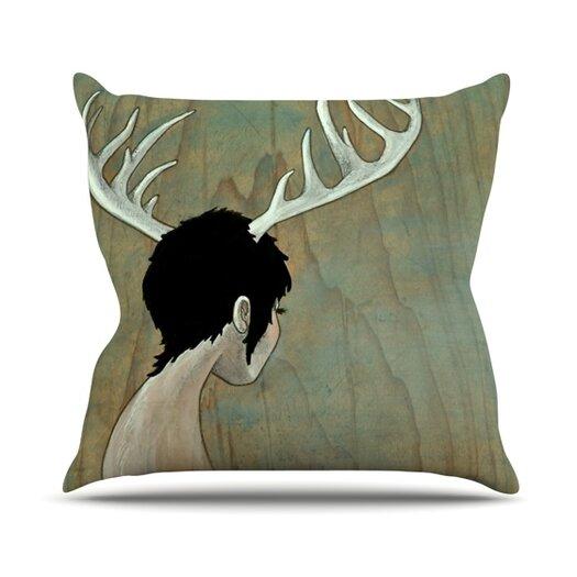 KESS InHouse Antlers Throw Pillow
