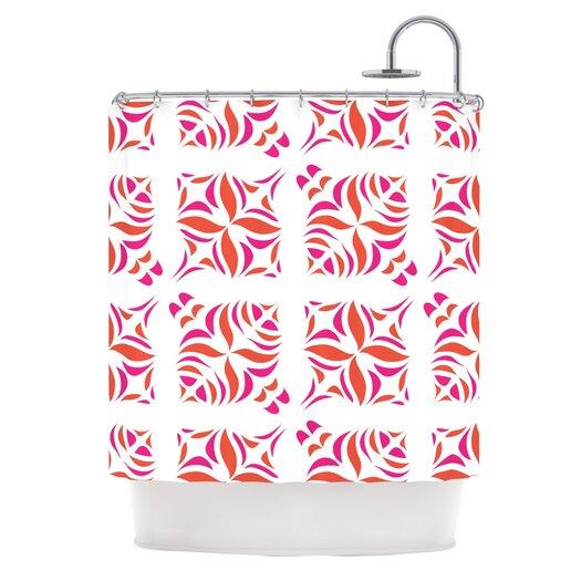 KESS InHouse Orange Oasis Polyester Shower Curtain