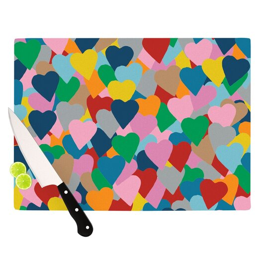 KESS InHouse More Hearts Cutting Board