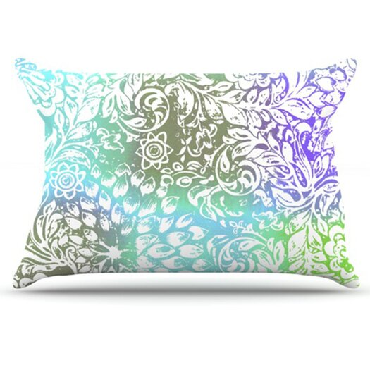 KESS InHouse Blue Bloom Softly for You Pillowcase
