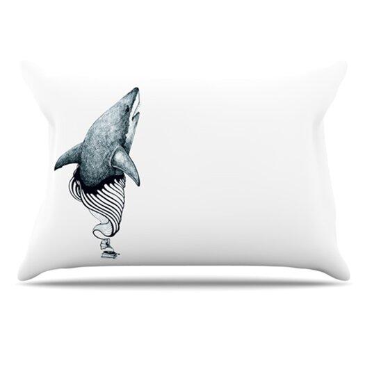KESS InHouse Shark Record Pillowcase
