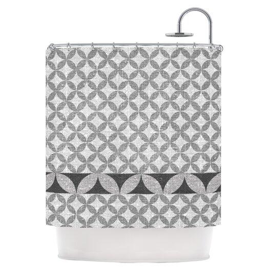 KESS InHouse Diamond Black Polyester Shower Curtain