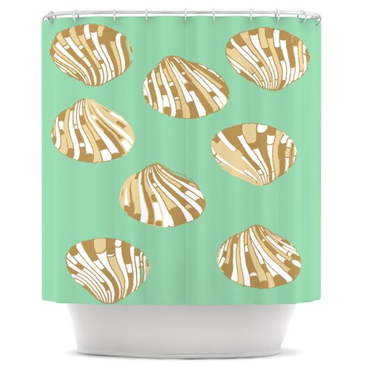 KESS InHouse Scallop Shells Polyester Shower Curtain