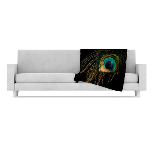 KESS InHouse Peacock Microfiber Fleece Throw Blanket