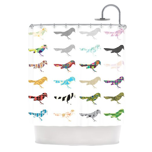 KESS InHouse Birds Polyester Shower Curtain