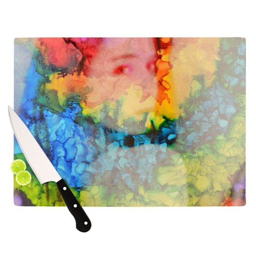 KESS InHouse Rainbow Splatter Cutting Board