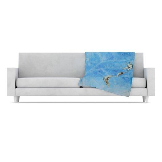KESS InHouse Crane Fleece Throw Blanket