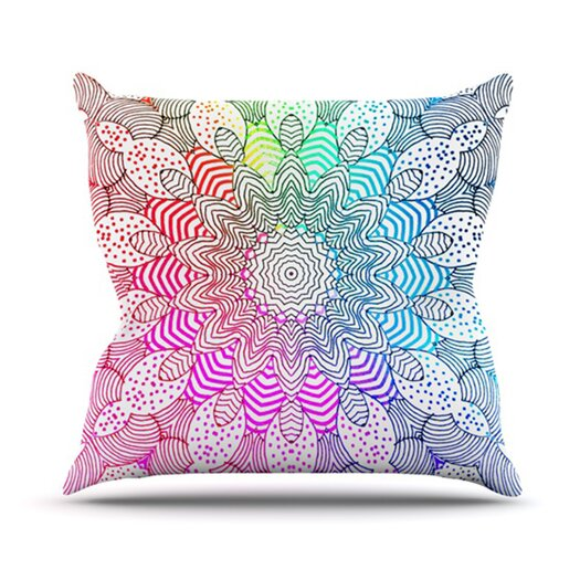 KESS InHouse Rainbow Dots Throw Pillow