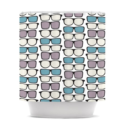 KESS InHouse Spectacles Geek Chic Polyester Shower Curtain