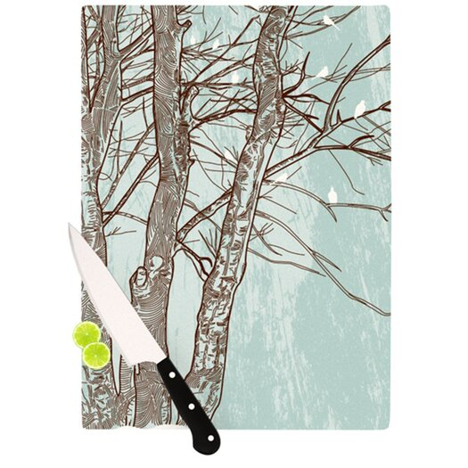 KESS InHouse Winter Trees Cutting Board