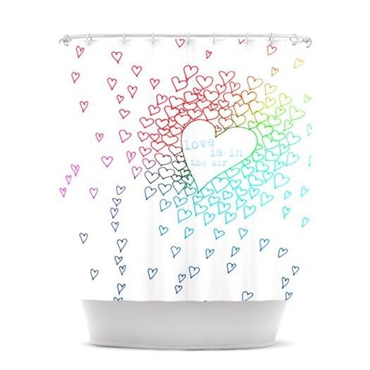 KESS InHouse Rainbow Hearts Polyester Shower Curtain
