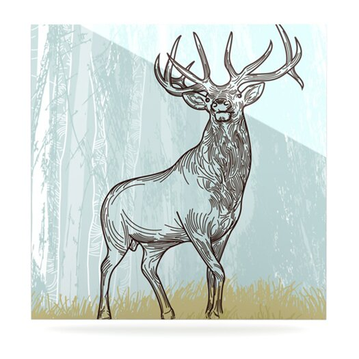 KESS InHouse Elk Scene by Sam Posnick Painting Print Plaque