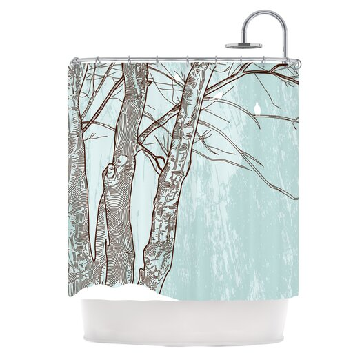 KESS InHouse Winter Trees Polyester Shower Curtain
