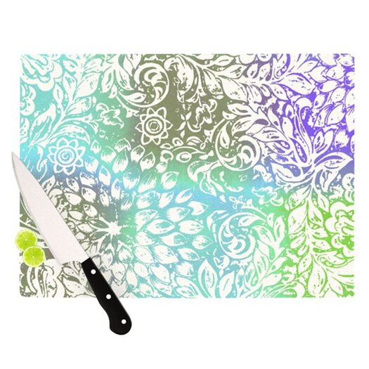 KESS InHouse Blue Bloom Softly for You Cutting Board