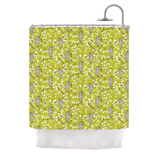 KESS InHouse Blossom Bird Polyester Shower Curtain
