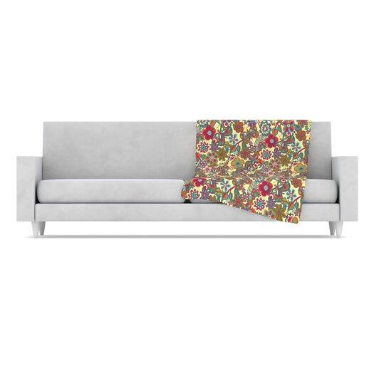 KESS InHouse My Butterflies and Flowers Microfiber Fleece Throw Blanket