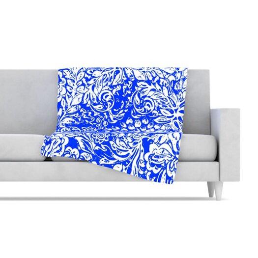 KESS InHouse Bloom Blue for You Fleece Throw Blanket