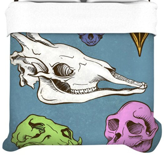KESS InHouse Skulls Fleece Duvet Cover