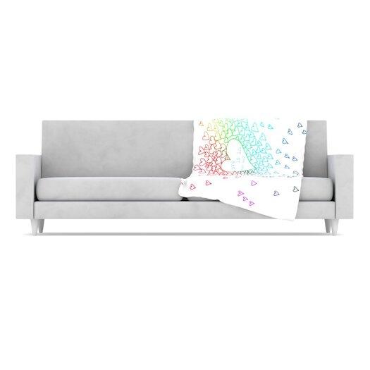 KESS InHouse Rainbow Hearts Fleece Throw Blanket