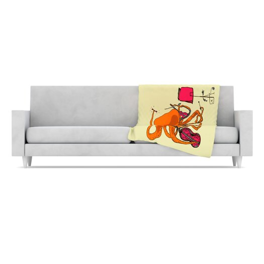 KESS InHouse Playful Octopus Fleece Throw Blanket
