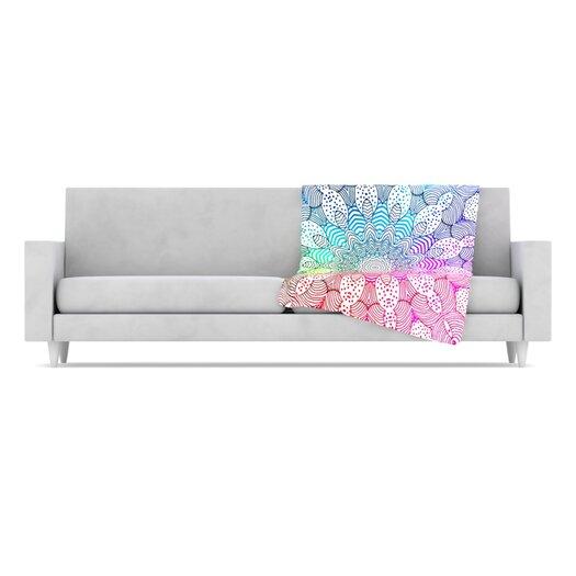 KESS InHouse Rainbow Dots Fleece Throw Blanket