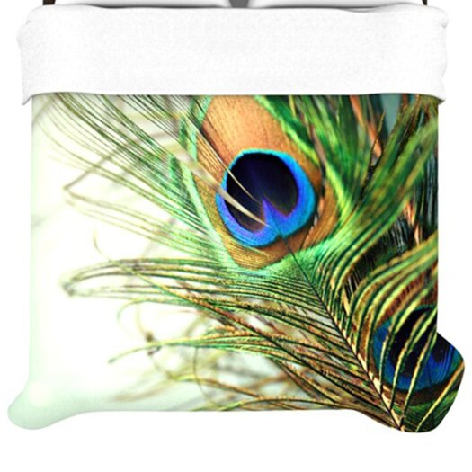 KESS InHouse Teal Peacock Feather Duvet Cover
