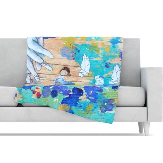 KESS InHouse Origami Strings Fleece Throw Blanket