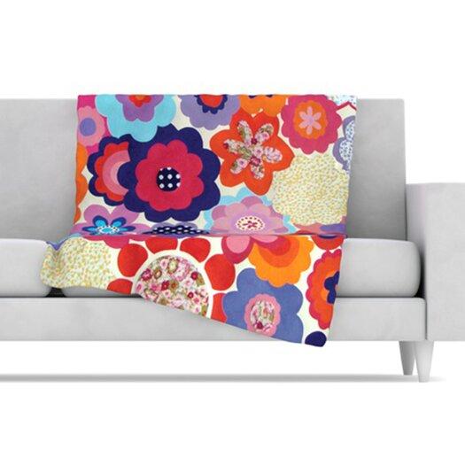 KESS InHouse Patchwork Flowers Fleece Throw Blanket