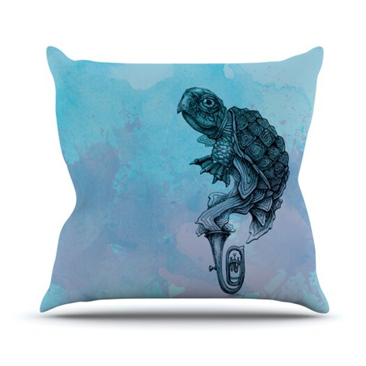 KESS InHouse Turtle Tuba II Throw Pillow