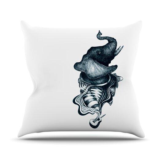 KESS InHouse Elephant Guitar Throw Pillow