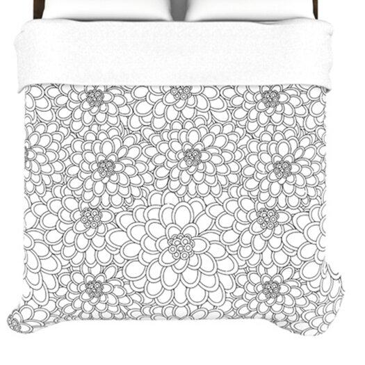 """KESS InHouse """"White Flowers"""" Woven Comforter Duvet Cover"""