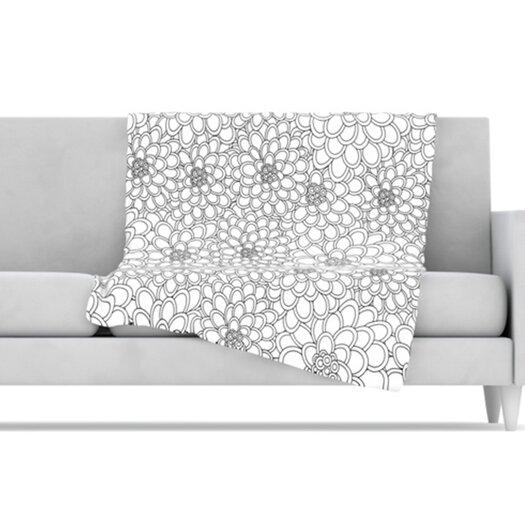KESS InHouse Flowers Microfiber Fleece Throw Blanket