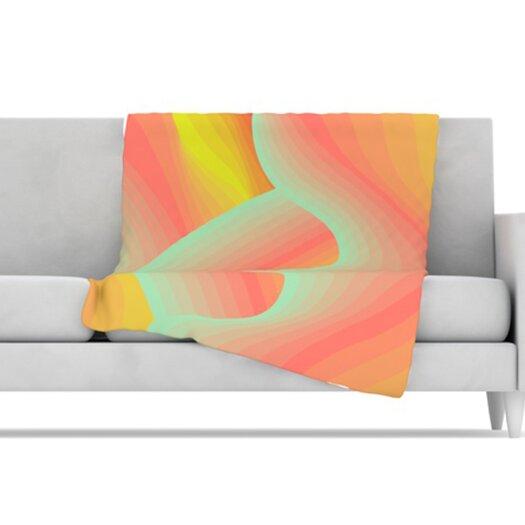 KESS InHouse Way of the Waves Blossom Bird Microfiber Fleece Throw Blanket