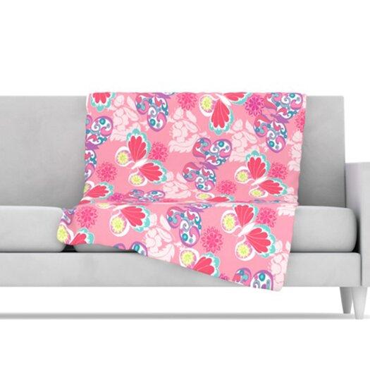 KESS InHouse Baroque Butterflies Microfiber Fleece Throw Blanket