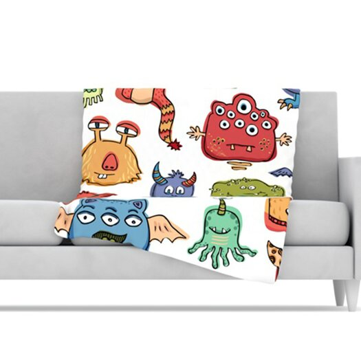 KESS InHouse Little Monsters Microfiber Fleece Throw Blanket