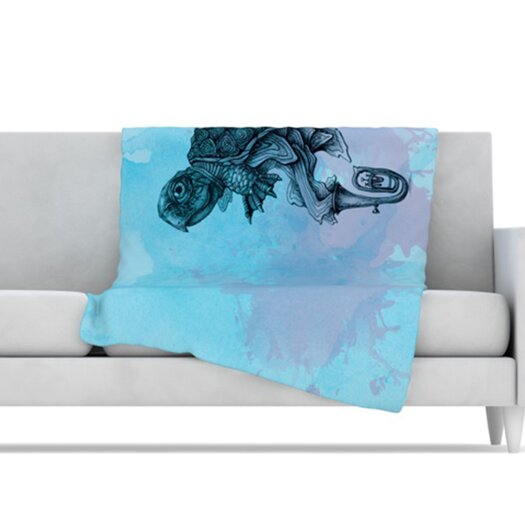 KESS InHouse Turtle Tuba II Microfiber Fleece Throw Blanket
