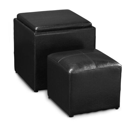 Convenience Concepts Park Avenue 2 Piece Cube Ottoman & Stool