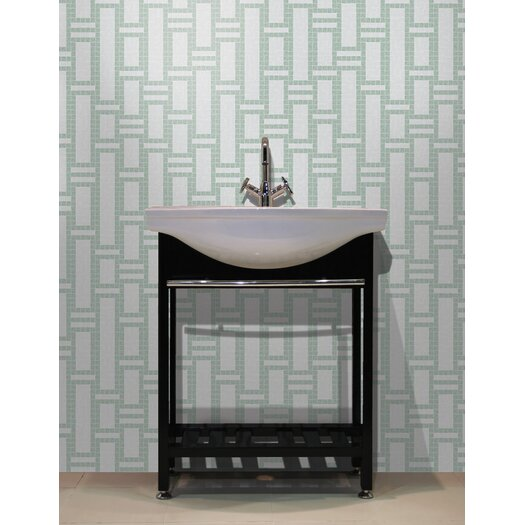 "Mosaic Loft Urban Essentials 12.48"" x 12.48"" Glass Modern Bamboo Mosaic Pattern Tile in Placid Turquoise"