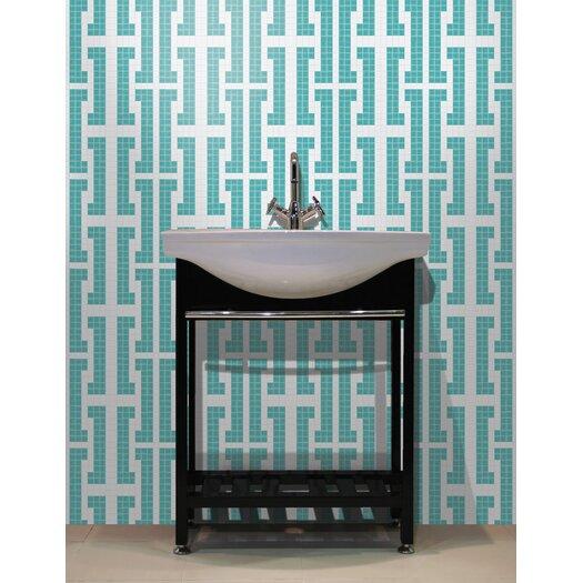 """Mosaic Loft Urban Essentials 12.48"""" x 12.48"""" Glass Bold Chain Mosaic Pattern Tile in Deep Teal"""
