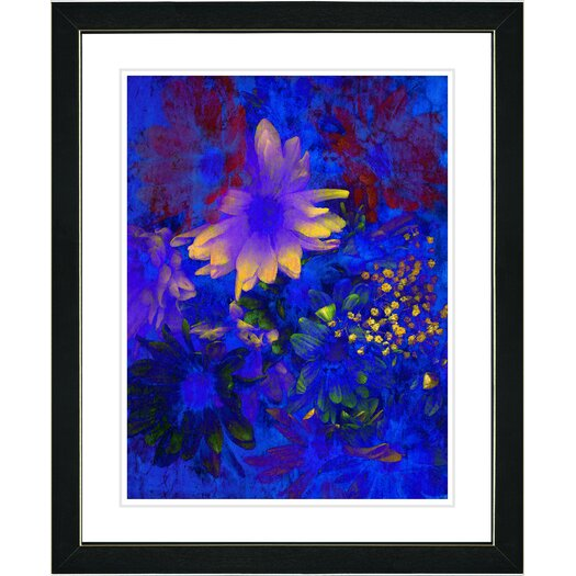 """Studio Works Modern """"Blue Abstract Daisies - Yellow"""" by Zhee Singer Framed Fine Art Giclee Painting Print"""