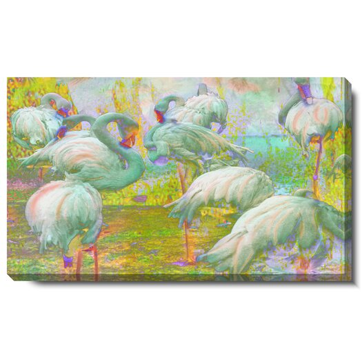 """Studio Works Modern """"White Flamingos"""" Gallery Wrapped by Zhee Singer Painting Print on Canvas"""